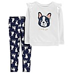 carter's® Newborn 2-Piece French Bulldog Top and Pant Set in Ivory
