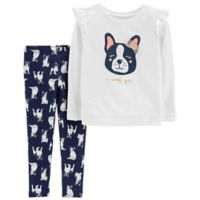 carter's® Size 18M 2-Piece French Bulldog Top and Pant Set in Ivory
