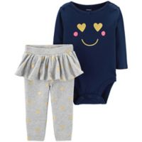 carter's® Size 9M 2-Piece Smile Bodysuit and Tutu Pant Set in Navy