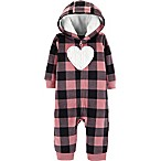 carter's® Size 3M Plaid Heart Hooded Romper in Black/Pink