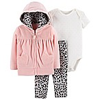 carter's® 3-Piece Animal Cardigan, Onesie, and Pant Set in Pink