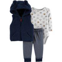 carter's® Size 9M 3-Piece Critter Little Vest Set