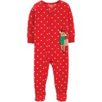 carter's® Size 12M Reindeer Polka Dot Footed Pajama in Red
