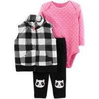 carter's® Size 9M 3-Piece Plaid Panda Vest, Bodysuit and Pant Set in Black