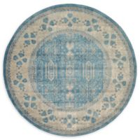 Unique Loom Salzburg 6' Round Area Rug in Light Blue