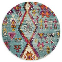 Unique Loom Sedona 6' Round Power-Loomed Area Rug in Turquoise