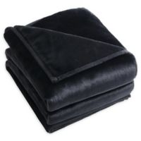 Rabbit Faux Fur Throw Blanket in Black
