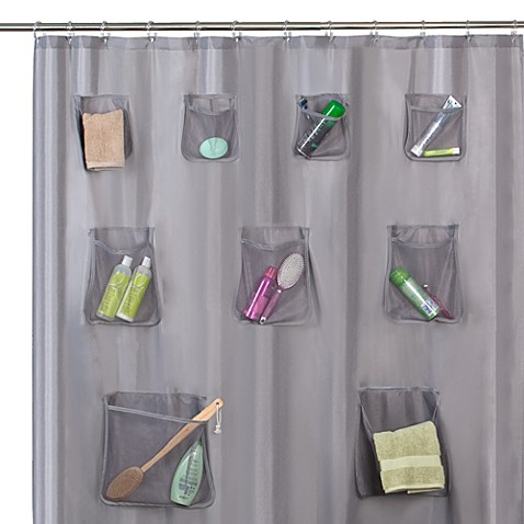 Mesh pocket 70 w x 72 l fabric shower curtain with set - Bathroom items that start with l ...