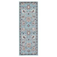 Unique Loom Lily Heritage 2'2 x 6' Power-Loomed Runner in Light Blue