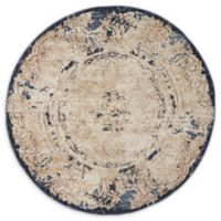 Unique Loom Adams Villa 4' Round Area Rug in Cream