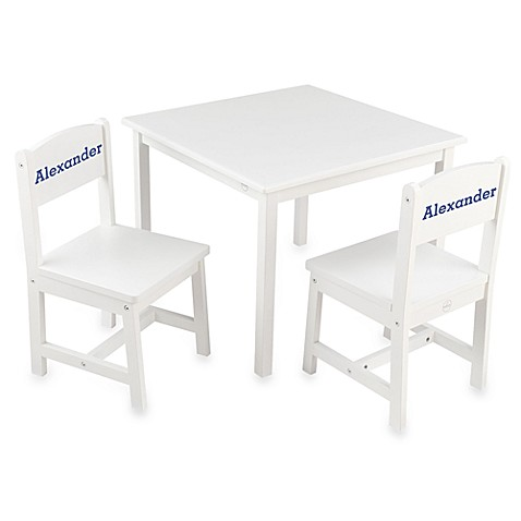 KidKraft® Personalized Boy\'s Aspen Table & Chair Set in White with ...