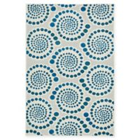 Charlotte Transitional 4' x 6' Area Rug in Cream/Blue