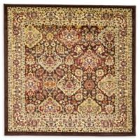 Unique Loom Colonial Agra 4' Square Accent Rug in Brown