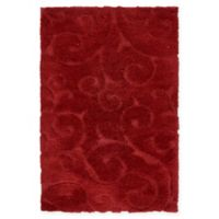Unique Loom Carved Floral Shag 4' x 6' Area Rug in Red
