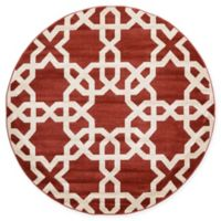 Unique Loom Trellis 6' Round Area Rug in Dark Terracotta