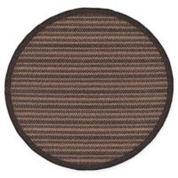 Unique Loom Checkered Trellis 6' Round Indoor/Outdoor Area Rug in Brown