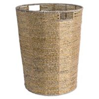 Design Imports Woven Seagr Round Metallic Bin In Gold