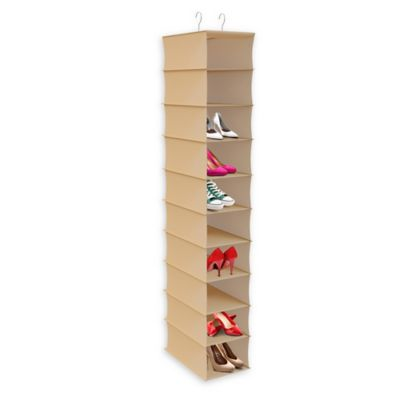 10 Shelf Hanging Closet Organizer In Tan