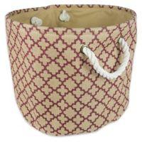 Design Imports Small Round Burlap Lattice Storage Bin in Wine