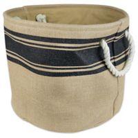 Design Imports Small Round Burlap Stripe Storage Bin in Black