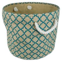 Design Imports Medium Round Burlap Lattice Storage Bin in Teal