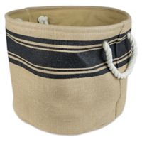 Design Imports Medium Round Burlap Stripe Storage Bin in Black