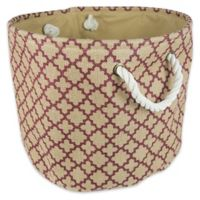 Design Imports Medium Round Burlap Lattice Storage Bin in Wine