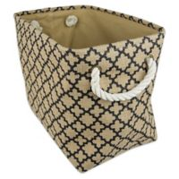 Design Imports Medium Burlap Lattice Storage Bin in Black