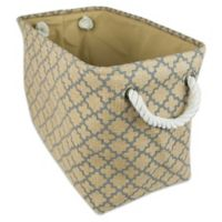 Design Imports Small Burlap Lattice Storage Bin in Grey