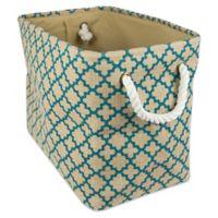 Design Imports Small Burlap Lattice Storage Bin in Teal