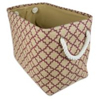 Design Imports Small Burlap Lattice Storage Bin in Wine