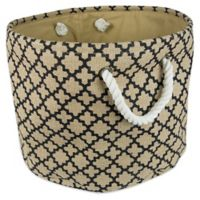 Design Imports Medium Round Burlap Lattice Storage Bin in Black