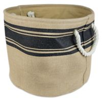 Design Imports Large Round Burlap Stripe Storage Bin in Black