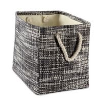 Design Imports Tweed Small Rectangular Paper Storage Bin in Black