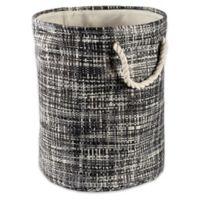 Design Imports Tweed Small Round Paper Storage Bin in Black
