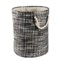 Design Imports Tweed Medium Round Paper Storage Bin in Black