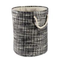 Design Imports Tweed Medium Round Paper Storage Bin in Black