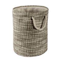 Design Imports Tweed Medium Round Paper Storage Bin in Grey