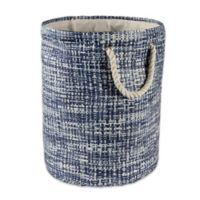 Design Imports Tweed Medium Round Paper Storage Bin in Blue
