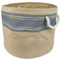 Design Imports Striped Border Medium Round Burlap Storage Bin in Grey