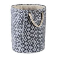 Design Imports Geometric Diamonds Small Round Paper Storage Bin in Blue