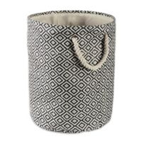 Design Imports Geometric Diamonds Small Round Paper Storage Bin in Black