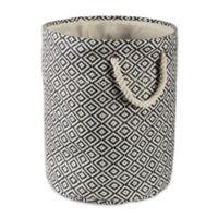 Design Imports Geometric Diamonds Small Round Paper Storage Bin in Black