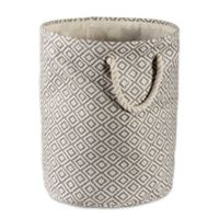 Design Imports Geometric Diamonds Small Round Paper Storage Bin in Grey