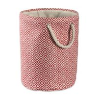 Design Imports Geometric Diamonds Small Round Paper Storage Bin in Brown