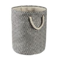 Design Imports Geometric Diamonds Medium Round Paper Storage Bin in Black