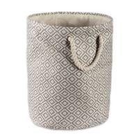 Design Imports Geometric Diamonds Medium Round Paper Storage Bin in Grey