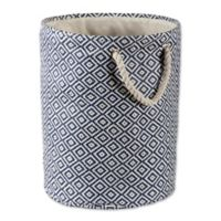 Design Imports Geometric Diamonds Medium Round Paper Storage Bin in Blue