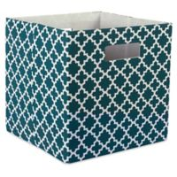 Design Imports Lattice 11-Inch Storage Cube in Teal