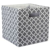Design Imports Lattice 11-Inch Storage Cube in Grey